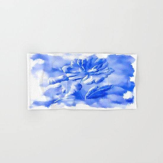 Cyan Painterly Flower Abstract Hand & Bath Towel