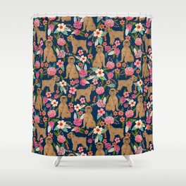 Brussels Griffon florals pattern for dog lovers custom pet friendly gifts for all dog breeds Shower Curtain