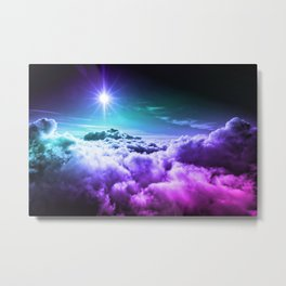 Cool Tone Ombre Clouds Metal Print
