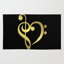 Treble clef, bass clef music heart love Rug
