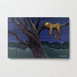 Leopard - Night Metal Print