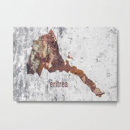 Eritrea Map Rusty Cement Metal Print