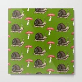 Snail n' Shrooms Metal Print