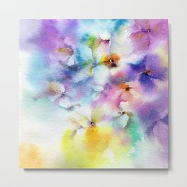 Abstract flowers. Watercolor floral pattern. Colorful delicate florals. Metal Print