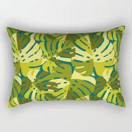 Monstera Leaves in Green Rectangular Pillow
