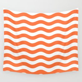 Wavy Stripes Patten Orange Wall Tapestry