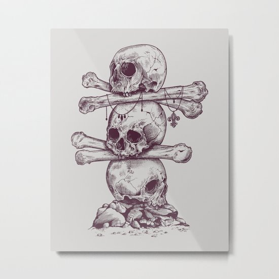 Skull Totem Metal Print