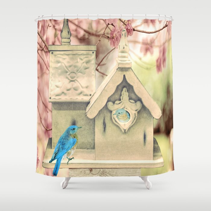 Bluebird White Birdhouse Country Home Decor A371 Shower Curtain