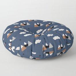 Fuji mountain top winter canada climbing theme navy gray rust Floor Pillow