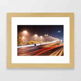 Traffic trails on the bridge Framed Art Print