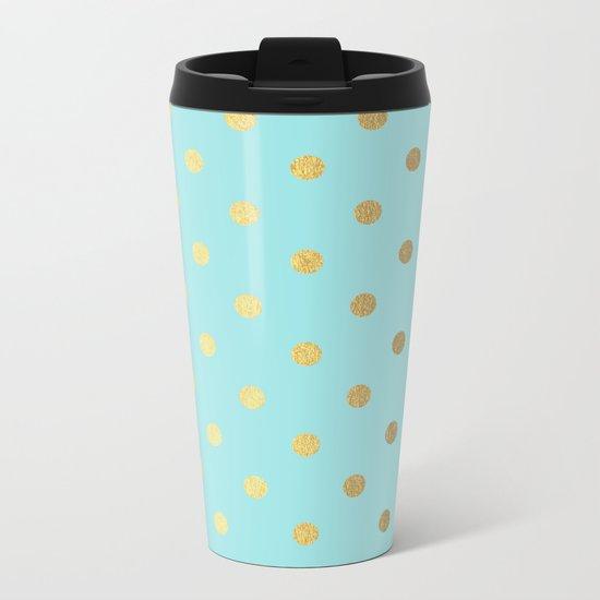 Gold polka dots on aqua background - Luxury turquoise pattern #Society6 Metal Travel Mug