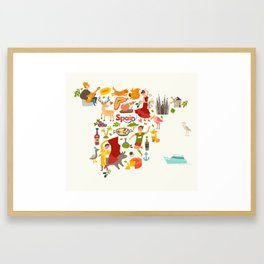 Spain map vector, contour. Illustrated map of Spain for children Framed Art Print