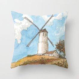 Windmill Against a Blue Sky Throw Pillow