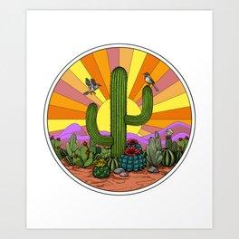 Hippie Cactus Art Print