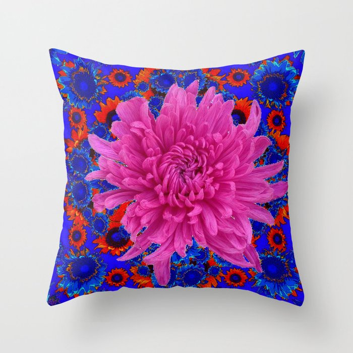 ROSE Lilac Spider Mum FLOWER Blue-orange GARDEN Throw Pillow