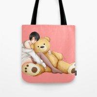 teddy bear Tote Bags featuring Teddy by Sir-Snellby
