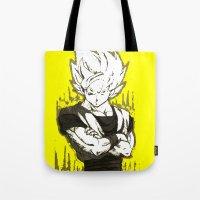 goku Tote Bags featuring GOKU  by DeMoose_Art