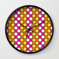 polka dots Wall Clocks featuring polka dots by nandita singh