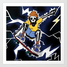 Wicked Electrocuted Skeleton Boy Art Print