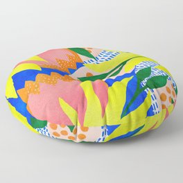 Bold Flowers on Blue Floor Pillow