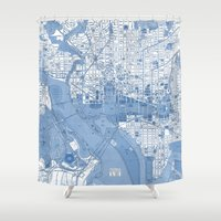 washington dc Shower Curtains featuring Washington DC Map by Color and Form