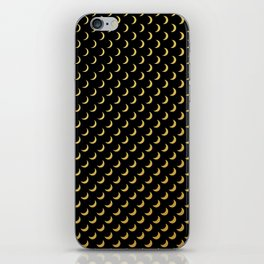 Gold half moons on black iPhone Skin