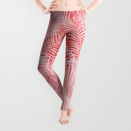 Tropical living coral blush pink glitter palm tree floral Leggings