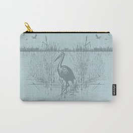 Oriental Exotic Heron & Birds on a Lake Print Carry-All Pouch