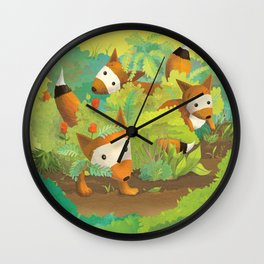 Babies in Bushes Wall Clock