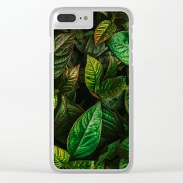 Golden Green Leaves Clear iPhone Case