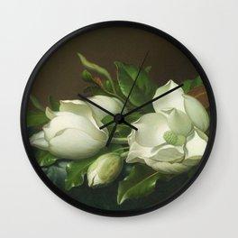 Martin Johnson Heade - Magnolias On Light Blue Velvet Cloth1885. Wall Clock