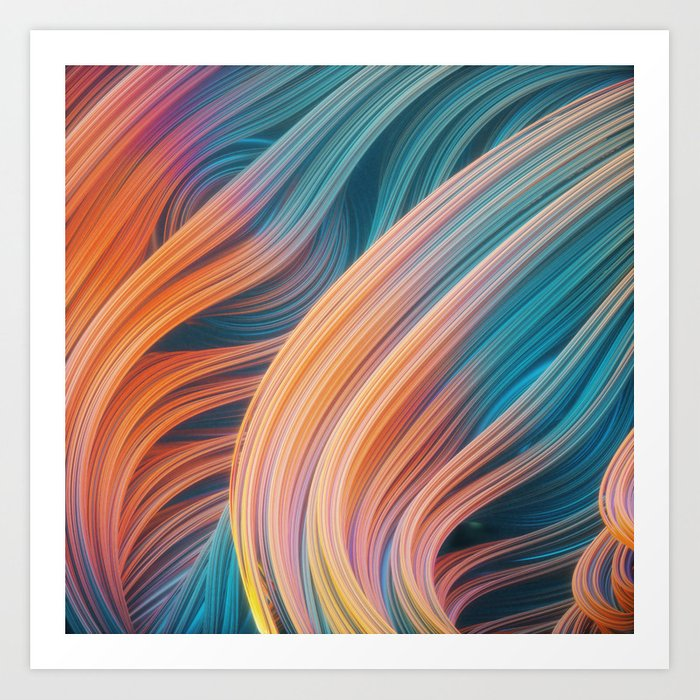 Swirly waves 03 Art Print