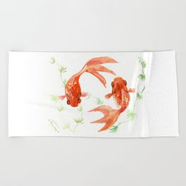 Koi Fish, Feng Shui, Goldfish art, Two fish, Beach Towel