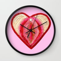 vagina Wall Clocks featuring Sequin Vagina by King Sophie's World