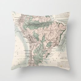 Vintage Map of South America (1858) Throw Pillow