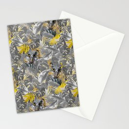 Owls, Peeping, through, Grey, & Yellow, leaves Stationery Cards