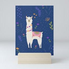 Llama on Blue Mini Art Print