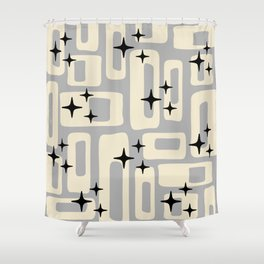Retro Mid Century Modern Abstract Pattern 576 Gray Black Shower Curtain
