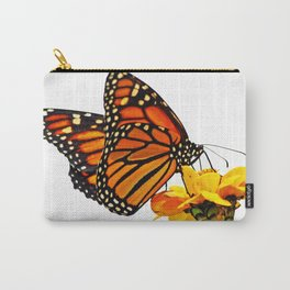 Monarch Butterfly on Zinnia Flower Carry-All Pouch