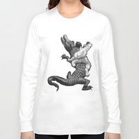 wrestling Long Sleeve T-shirts featuring Crocodile wrestling! by Noughton