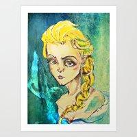 elsa Art Prints featuring Elsa by Hilary Dow