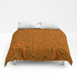 Autumnal Leaves Red Green and Amber Abstract Kaleidoscope Comforters