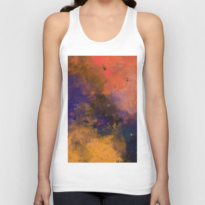 Inner Peace - Orange, red, blue, pastel, textured painting Unisex Tank Top