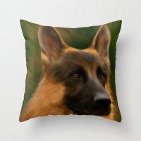 german shepherd Throw Pillows featuring German Shepherd  by Becky's Digital Art