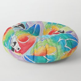 Pandemonium of Parrots Floor Pillow