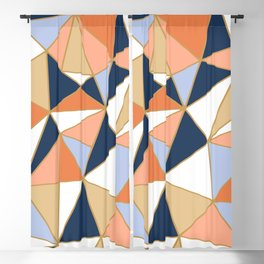 Festive, Geometric Art, Orange, Navy, Blue, Gold, Abstract Art Blackout Curtain