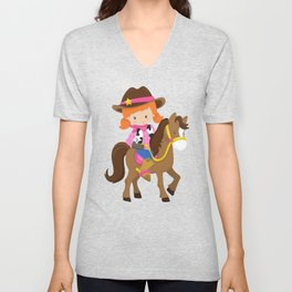 Cowboy Girl, Cowgirl On Brown Horse, Orange Hair Unisex V-Neck