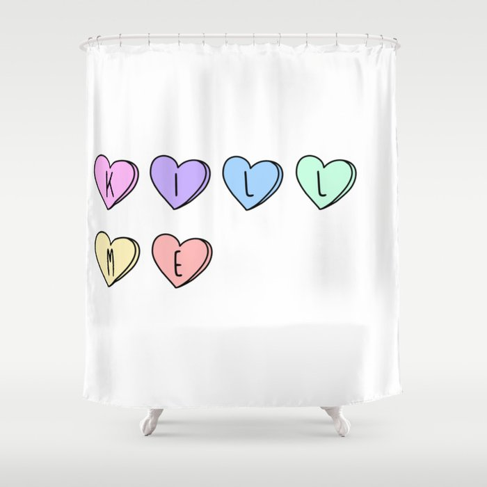 Kill Me Candy Hearts Shower Curtain