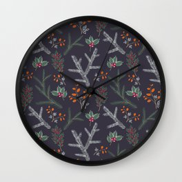 Seamless pattern with floral branches winter christmas hand drawn texture background Wall Clock