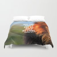 narnia Duvet Covers featuring BOLD AS LIONS by Pocket Fuel